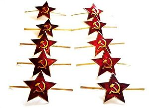 10-PACK-GENUINE-RUSSIAN-MILITARY-RED-STAR-PIN-BADGES-Soviet-army-beret-pins-USSR