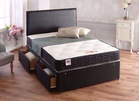 💥SAME DAY 💥 Divan bed base. 4 colours! storage headboard and mattress 4ft,4ft6 DOUBLE or 5ft KING