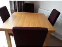 Oak Coloured Wooden Dining Table