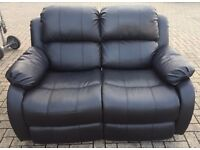 RECLINING TWO SEATER FAUX LEATHER SOFA