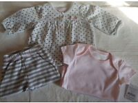 Beautiful Nutmeg Baby Outfit, Bottoms, Top/Dress & Vest 0-3 Months, Up to 13Lbs 100% Cotton