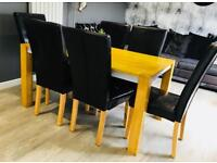 Dining chairs x6 in dark brown leather with wooden legs