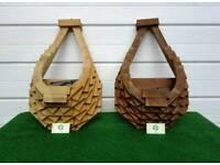 Wooden hanging pot HORSESHOE