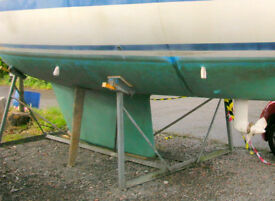 Boat / Yacht cradle, galvanised, good condition, 4 legs: suit 25ft to 32ft, fin / bilge keel