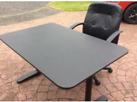 Black office chair and matching table (table still has 7years Ikea guarantee