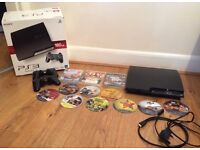 PS3 Slimline 160Gb 12 Games, Box, 2 Controllers, Leads