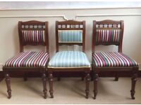 3 x Antique Victorian Mahogany Library Dining Study Striped Upholstered Chairs