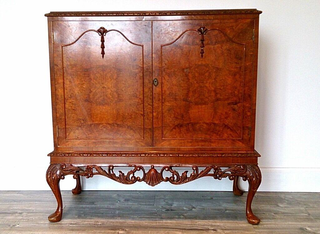 Antique Quality 1950 39 S Burr Walnut Queen Anne Revival