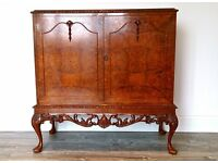 Antique Quality 1950's Burr Walnut Queen Anne Revival Sideboard / Cabinet