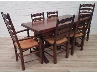 Solid Oak Extending Dining Table With Six Ladder Back Chairs (DELIVERY AVAILABLE)