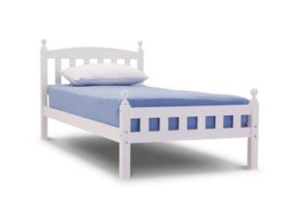 1 brand new single white wooden bed frames( MATTRESS NOT IN CLUDDED ...