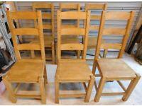 Six waxed Scandinavian pine chairs