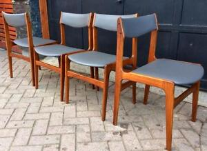 4 Anderstrup Danish Mid Century Modern Solid Teak Dining Chairs REUPHOLSTERED Grey Leather Look