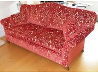 Three Seat Rust Red & Cream Couch Good Condition