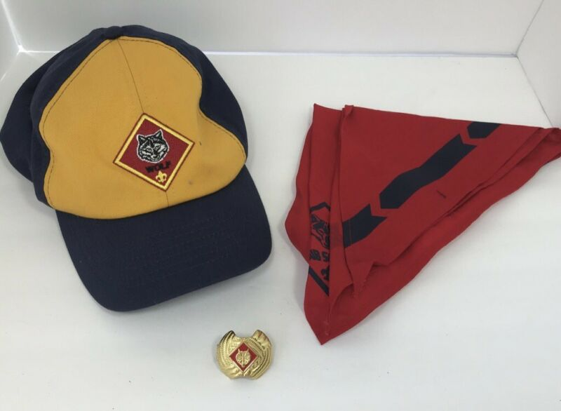 Boy Scouts of America Cub Scout Wolf Hat Cap Adjustable Strap Youth Scarf Slide
