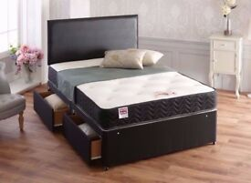 ****1 YEAR GUARANTEE***** BRAND NEW DOUBLE DIVAN BED BASE WITH 1000 POCKET SPRUNG MATTRESS