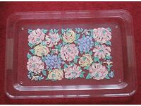 "Large TRAY with rim clear centre pretty floral design, 20"" x 13"" indented each side for handling"