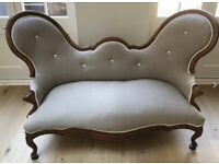 Antique Victorian Sofa Chair Double Spoon Back Button Back 2 Seat Sofa
