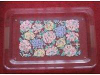 large, pretty - TRAY - 20 X 13.5 WITH RIM, ridged each side for holding, floral centre design