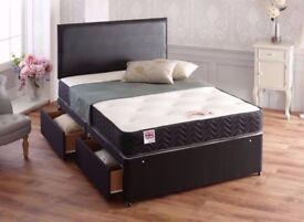 New Divan bed base Single Double King 3ft, 4ft, 4ft6, 5ft All Size Beds and Memory Foam MAttress