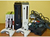 Xbox 360 bundle ,2 x Xbox 360 Elite consoles +2 wireless controllers + 6 games + all the cables