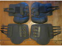Black leather horse boots cross country/xc brushing/tendon full set fore & hind