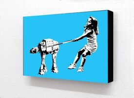 Block Mounted Print Star Wars Girl Pulling At At Dog Lead Picture Wall Art Graffiti Home Decor Gift