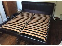 John Lewis 6ft Real Leather Bed. Queen Size.