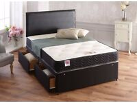 BRAND NEW DOUBLE DIVAN BLACK BED BASE WITH ORTHOPEDIC MEMORY FOAM MATTRESS