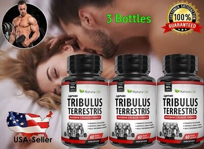 3 #1 BEST TRIBULUS TERRESTRIS BODY BUILD TESTOSTERONE BOOSTER MALE ENHANCE