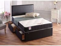 Double Ottoman Storage Gas Lift Leather Bed £129, With Memory Foam Ortho Mattress £239