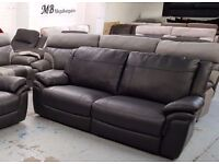 Ex Display ScS Leo Black Leather 3 Seater Sofa Can Deliver View Collect Kirkby NG177