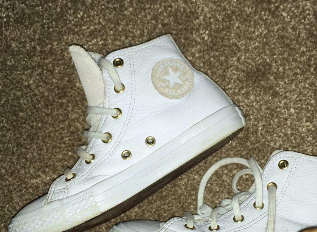 eb6e6e11fc0dc0 Converse leather boots blue size UK 1