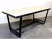 Brix Design Works - Chadwick Dining Table - Industrial Steel and Wooden OSB Top in Natural / Grey