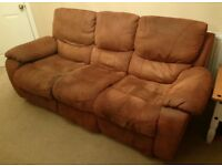 Faux Suede 3 Seater Recliner Sofa / Settee