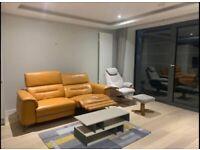 Furniture Village Honey yellow sanza 3 seater Recliner sofa