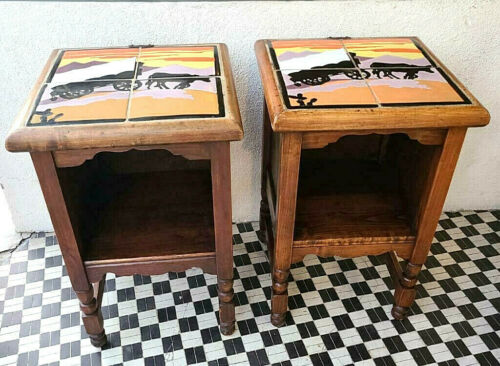 VERY RARE PAIR of MONTEREY TAYLOR TILE 1930 SIDE TABLE STANDS
