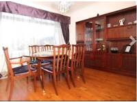 Dining table, chairs and cabinet