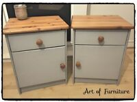A Pair of Pine Bedside Tables Hand Painted in ANNIE SLOAN Paris Grey Chalk Paint