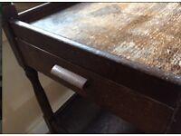 Antique Tea Trolley Dark Wood with Drawer