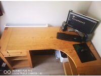 Solid oak wood computer desk