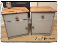 A Pair of Pine Bedside Tables Hand Painted in ANNIE SLOAN Paris Grey Chalk Paint.