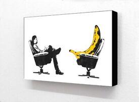 Block Mounted Banksy Banana Shrink Analysis Therapy Print Picture Wall Art Graffiti Home Decor Gift