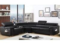 Corner sofa black leather