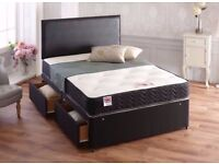 BRAND NEW SINGLE DOUBLE KINGSIZE BLACK DIVAN BED BASE WITH MATTRESSES OPTION, DRAWERS & HEADBOARD