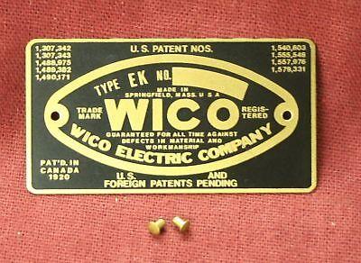 Wico Ek Magneto Name Plate Hit Miss Gas Engine Motor Mag