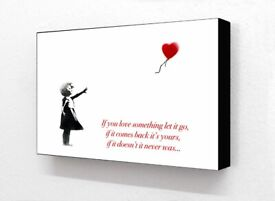 Block Mounted Banksy Balloon Girl Let it Go Quote Print Wall Art Graffiti Home Office Decor Gift