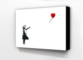 Block Mounted Banksy Print Balloon Girl White Picture Wall Art Graffiti New Home Office Decor Gift