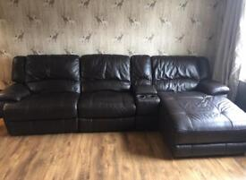 Large Leather Sofa - Manual Recliner