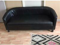3 seater leather settee banquet sofa dark brown £40